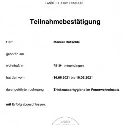 Manuel Butschle absolviert weiteren Lehrgang